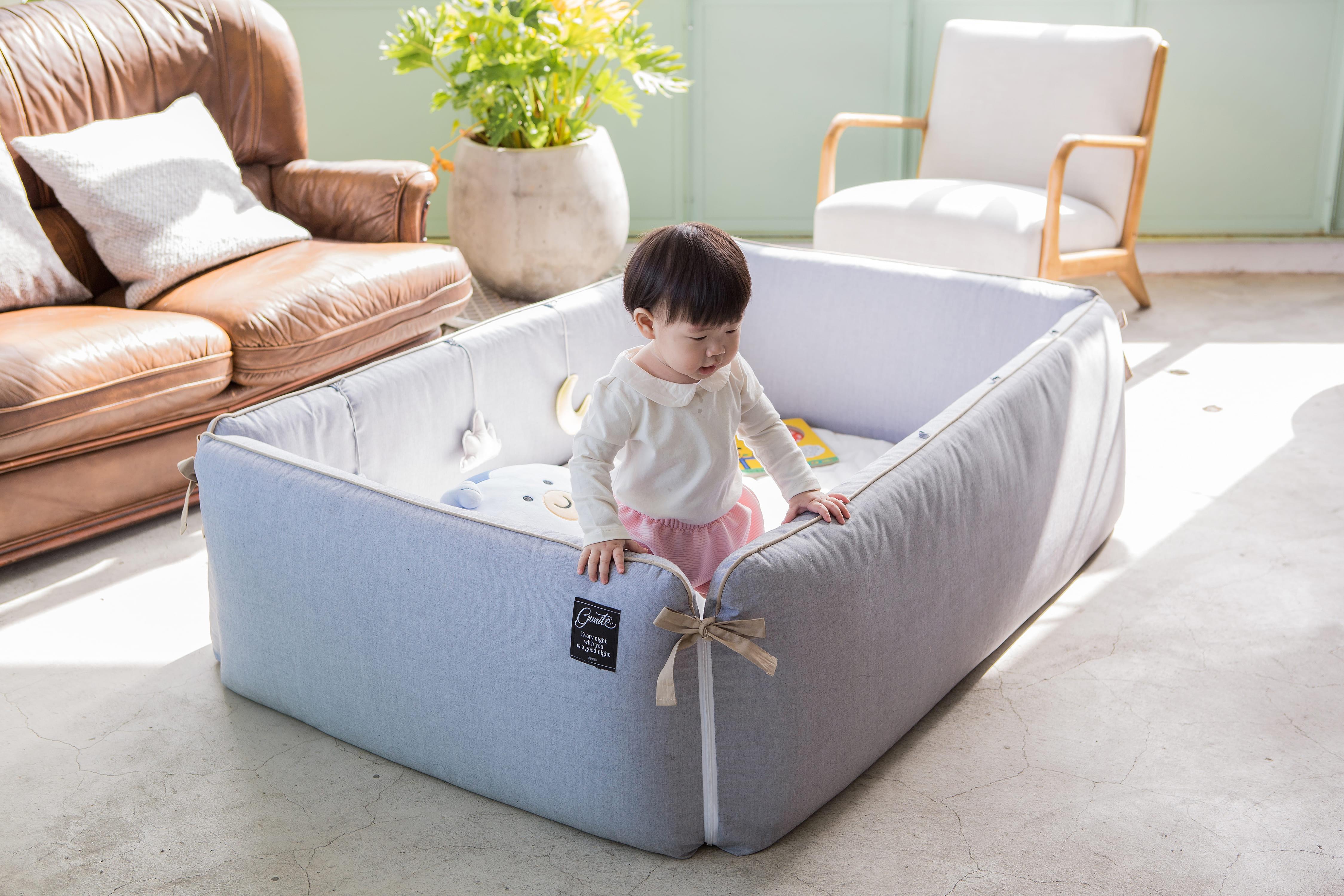 gunite嬰兒床落地式不怕摔落