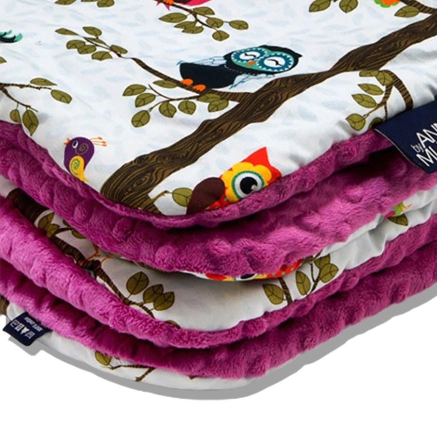 La Millou 暖膚豆豆毯-樹屋貓頭鷹(沁甜莓果紅)