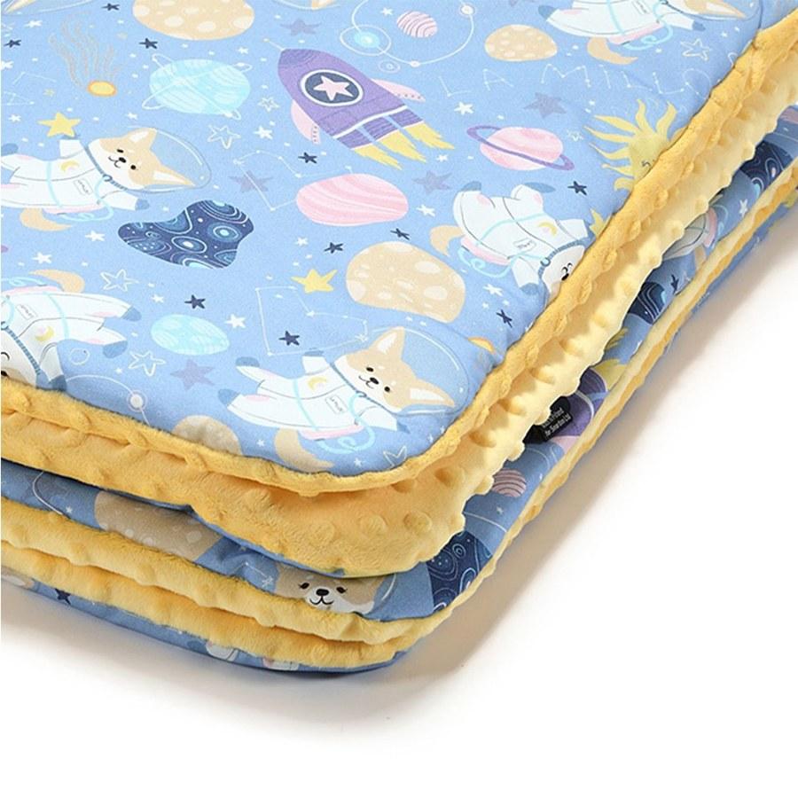 La Millou 暖膚豆豆毯-星空胖柯基(藍底)-清恬芒果黃