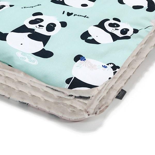La Millou 暖膚豆豆毯(加大款)-胖達功夫熊(綠底)-雲朵白