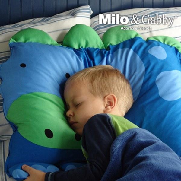 Milo & Gabby 動物好朋友-超細纖維防蟎大枕心+枕套組(DYLAN恐龍)