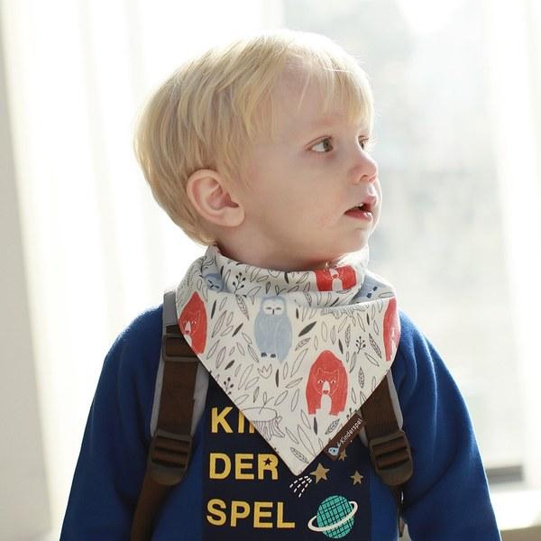 Kinderspel 繽紛時尚‧有機棉圍兜領巾 (酋長森林)