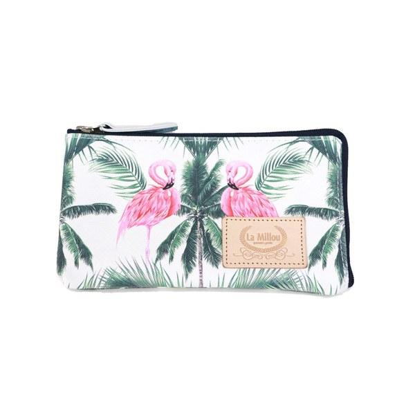 La Millou FEERIA妃芮亞多功能時尚mini手拿包(11*18cm)-棕櫚粉紅鶴
