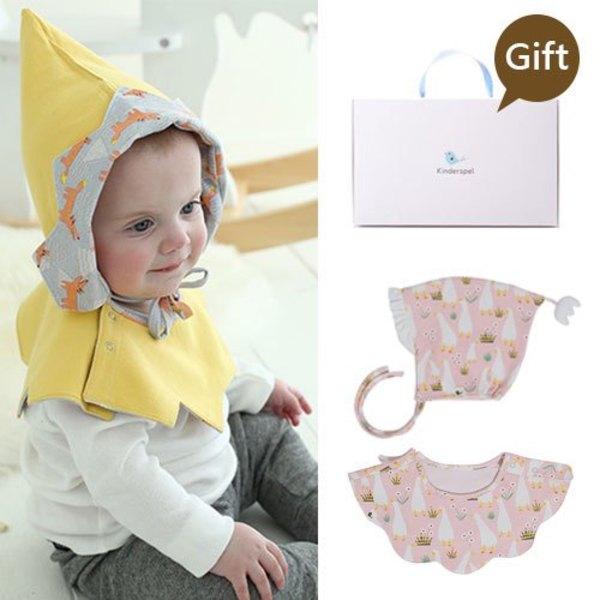 Kinderspel 雙面穿戴.正韓嬰兒棉帽+純棉斗篷圍兜組(送禮盒包裝)