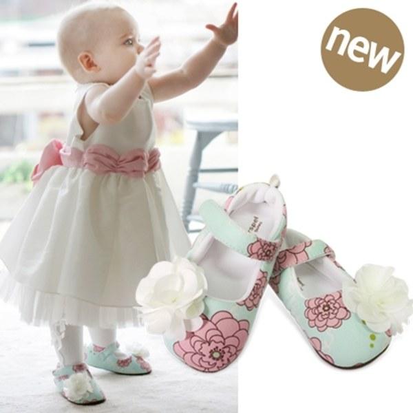Kinderspel 設計師款‧寬頭柔軟學步鞋 (微甜馬卡龍-精緻花)
