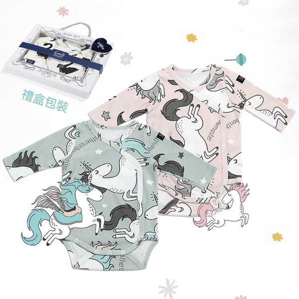 La Millou 新生兒彌月禮包屁衣2件組_3-6m-童話獨角獸+童話獨角獸(綠底)