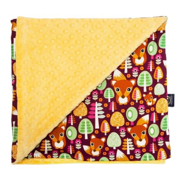 La Millou 單面巧柔豆豆毯-森林小松鼠-清恬芒果黃