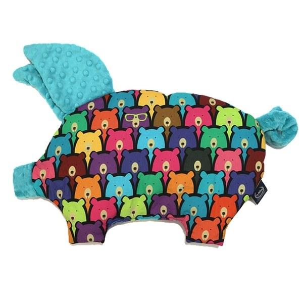 La Millou 豆豆小豬枕-小熊軟糖(藍綠調色盤)