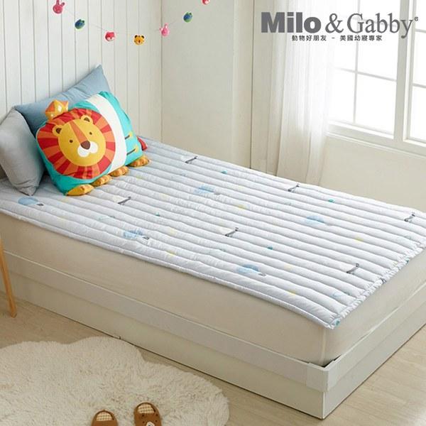 Milo&Gabby 動物好朋友-兒童超細纖維防蟎床墊(奇幻冒險-灰)